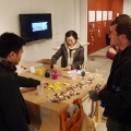 Audiences participate by painting wood blocks